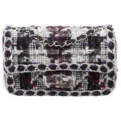 Chanel Tweed Purple Black White Silver Small Evening Shoulder Flap Bag in Box