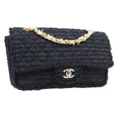 Chanel Tweed Silver Gold Medium Evening Shoulder Flap Bag