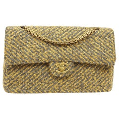 Chanel Tweed Yellow Gray Gold Medium Evening Shoulder Flap Bag