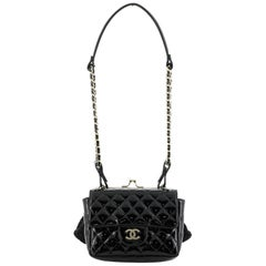 Chanel Twin Chain Shoulder Bag Quilted Patent and Lace