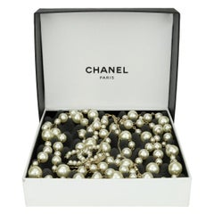 CHANEL Two Strands Pearl Gold Long Necklace 2011
