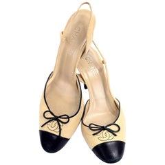 497c9606aaeb Chanel Two Tone Beige Black Slingback Heels W Round Cap Toe & CC Logo Size  40