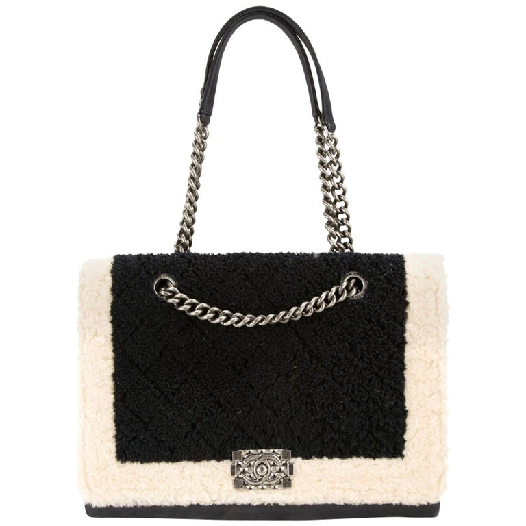 Chanel Two Tone Black and Ivory Plush Shearling Large Boy Bag Shopping Tote  For Sale