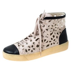 Chanel Two Tone Camellia Cut Out Leather High Top Sneakers Size 41