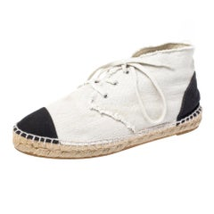 Chanel Two Tone Canvas Cap Toe CC Espadrille Sneakers Size 37