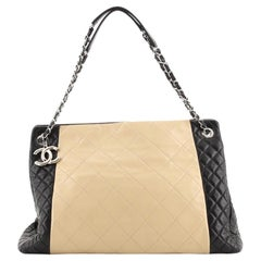 Chanel Two Tone CC Charm Tote Quilted Lambskin Large