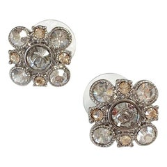 CHANEL Two-Tone Crystal Square Stud Earrings