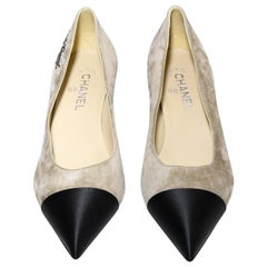 Chanel Two Tone Grey and Black Pointed Toe Pumps