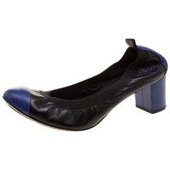 Chanel Two Tone Leather Cap Toe Scrunch Ballet Pumps Size 37.5