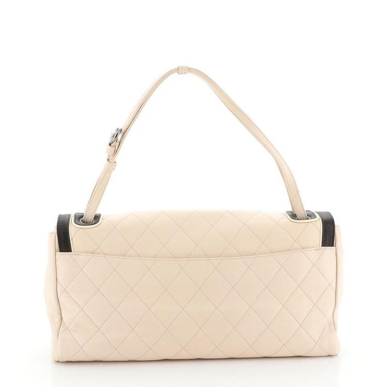 Chanel Two Tone Mademoiselle Lock Flap Bag Quilted Lambskin Large In Good Condition For Sale In New York, NY