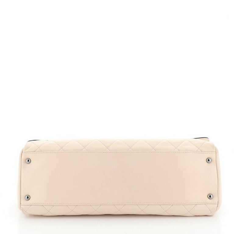 Women's or Men's Chanel Two Tone Mademoiselle Lock Flap Bag Quilted Lambskin Large For Sale