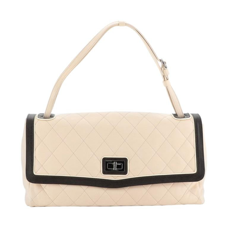 Chanel Two Tone Mademoiselle Lock Flap Bag Quilted Lambskin Large For Sale