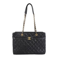 Chanel Two Tone Shopping Tote Quilted Caviar Large