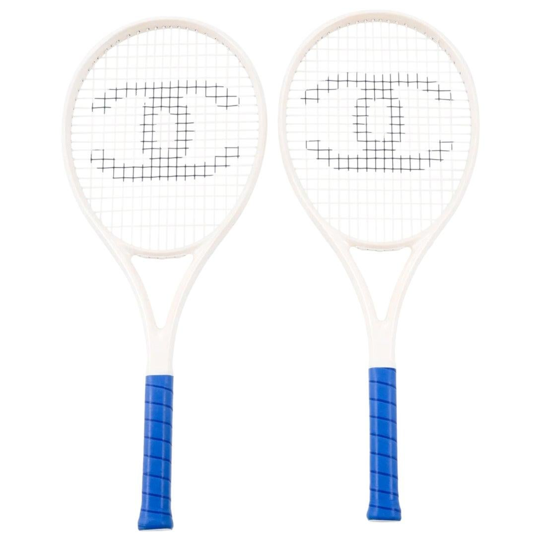 Chanel Two White Blue CC Logo Sports Game Novelty Tennis Rackets in Case W/Balls