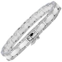 Chanel Ultra 0.85 Carat Diamond and White Ceramic Bracelet 18 Karat White Gold