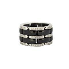 Chanel Ultra Black Ceramic and 18 Karat White Gold Diamond Ring