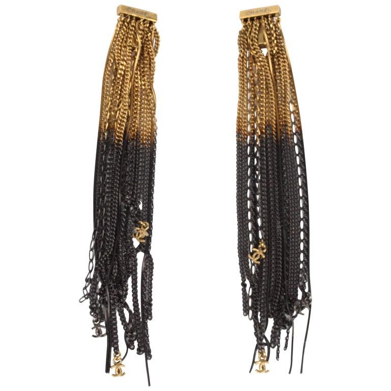 Chanel Ultra Long Earrings - black/gold For Sale