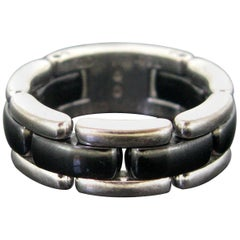 "Chanel ""Ultra"" Model Medium White Gold Black Ceramic Band Ring"
