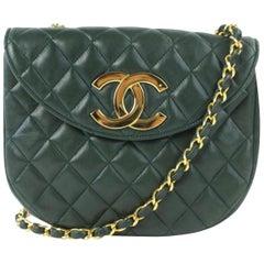 Chanel (Ultra Rare) Jumbo Logo Flap 17cz0717 Forest Green Leather Cross Body Bag
