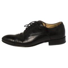 Chanel Uniform Black Leather Lace Up Oxford Size 43