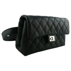 Chanel Uniform Black Quilted Grained Leather Waist-Belt Bag