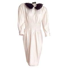 "CHANEL ""Unworn"" Haute Couture White Silk and Cashmere Camellia Flower."