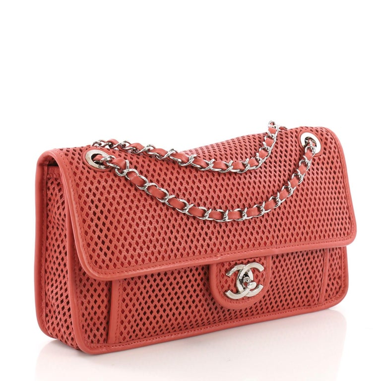 5e2378f6f610d2 Pink Chanel Up In The Air Flap Bag Perforated Leather Medium For Sale