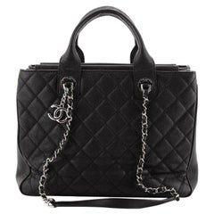 Chanel Urban Companion Top Handle Shopping Tote Quilted Caviar Medium
