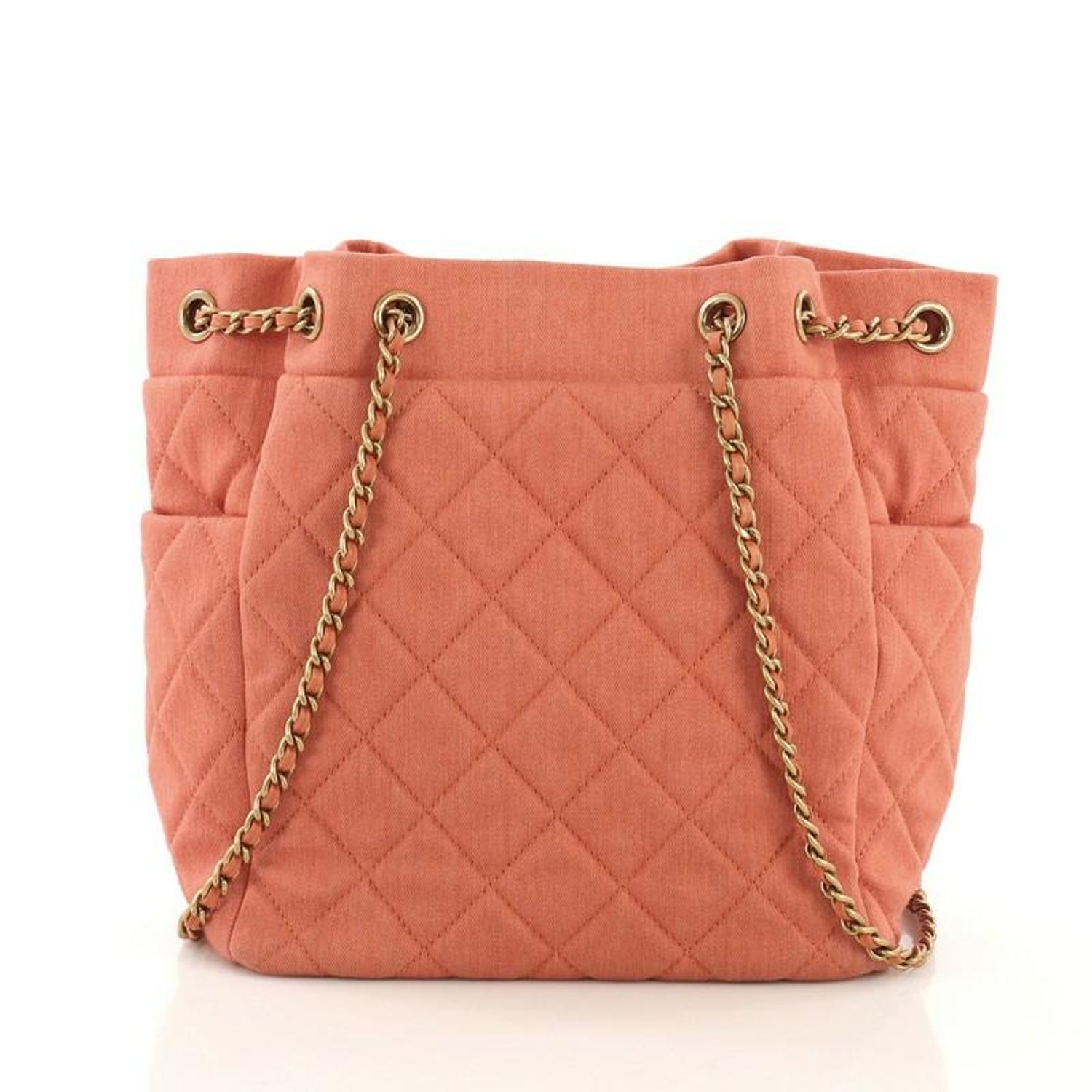 761f826063e2 Chanel Urban Spirit Drawstring Bag Quilted Denim Small For Sale at 1stdibs