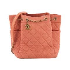 Chanel Urban Spirit Drawstring Bag Quilted Denim Small