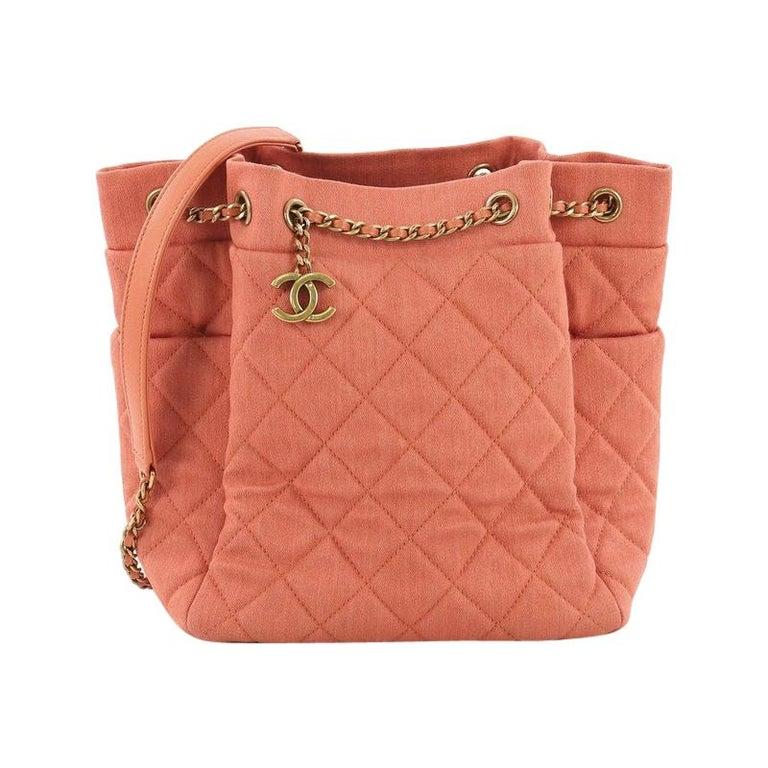 33c02af613f4 Chanel Urban Spirit Drawstring Bag Quilted Denim Small For Sale at ...