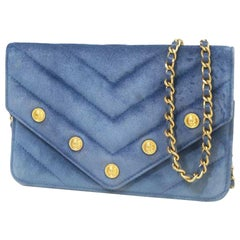 CHANEL V stitch chain Wallet stats Womens long wallet blue x gold hardware