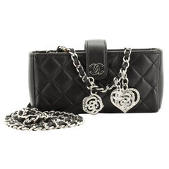 Chanel Valentine Crystal Hearts Phone Holder Crossbody Bag Quilted Lambsk