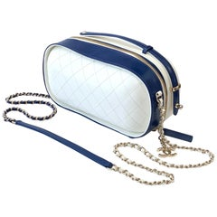 Chanel Vanity Case Blue and White Crumpled Calfskin Bag