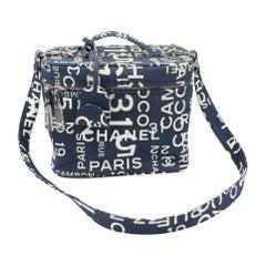 Chanel vanity case in canvas, print «Cambon»