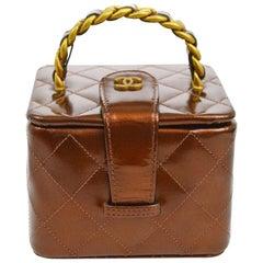 Chanel Rare Mini Top Handle Box 90s Vintage Iridescent Bronze Minaudière Bag