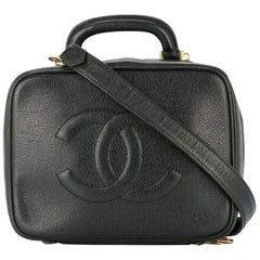 Chanel Vanity Case Rare Large Vintage 90s Top Handle Black Caviar Leather Bag