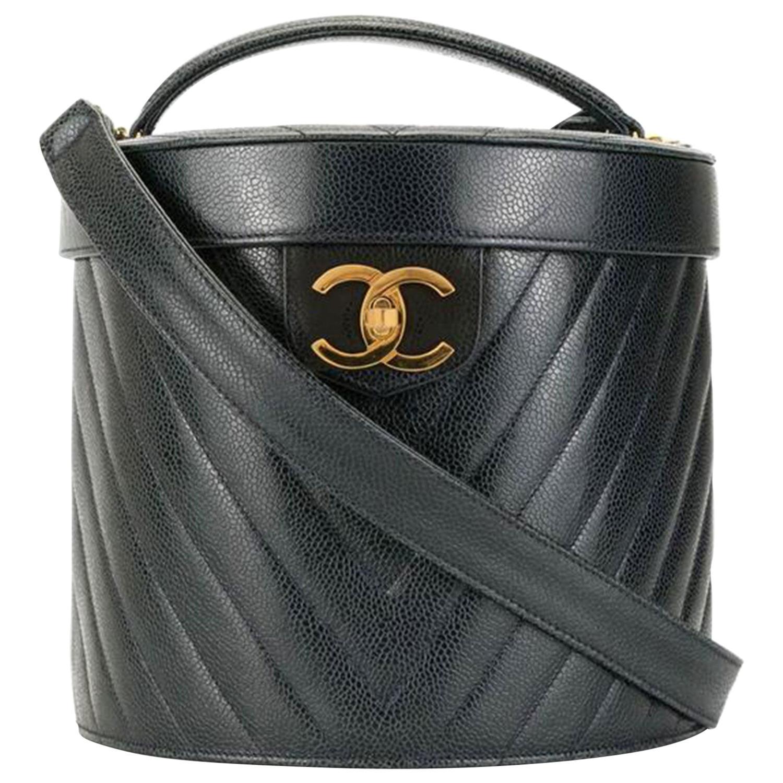 Chanel Vanity Case Rare Vintage 90's Chevron Train Top Handle Black Caviar Bag