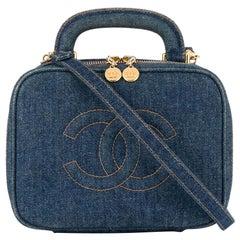 Chanel Vanity Case Rare Vintage Blue Mini Crossbody Black Denim Shoulder Bag