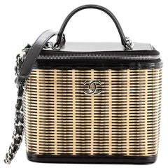 Chanel Vanity Case Rattan and Calfskin Small