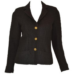 Chanel Vintage 1970's Black Tweed Knit Jacket