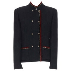 CHANEL Vintage 1970's red gold black tweed lion button double breasted jacket L