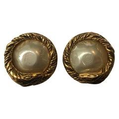 Chanel Vintage 1980's Faux Pearl Serpent Clip-On Earrings