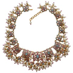 Chanel Vintage 1980's Gripoix Poured Glass  And Pearls Choker Necklace