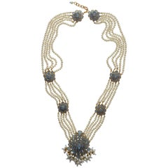 Chanel Vintage 1980's Gripoix Poured Glass  And Pearls Long  Necklace