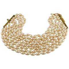 Chanel Vintage 1988 Classic Multi Strand Pearl Choker Necklace
