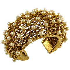 Chanel Vintage 1988 Gold Toned Braided Pearl Wide Cuff Bracelet