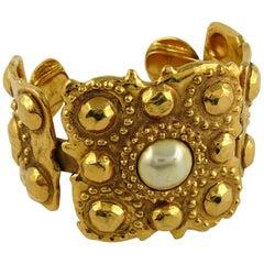 Chanel Vintage 1988 Gold Toned Byzantine Pear Cuff Bracelet