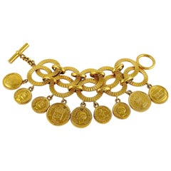 Chanel Vintage 1988 Gold Toned Coin Charm Cuff Bracelet
