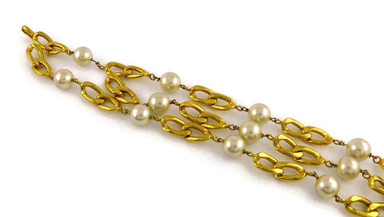 Beige Chanel Vintage 1988 Pearl Tassel Chain Belt For Sale